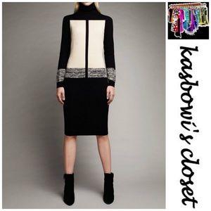 NARCISO RODRIGUEZ Black/Cream Knit Dress SZ XL